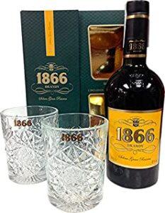 1866 Brandy Solera Gran Reserva y 2 Vasos Colección